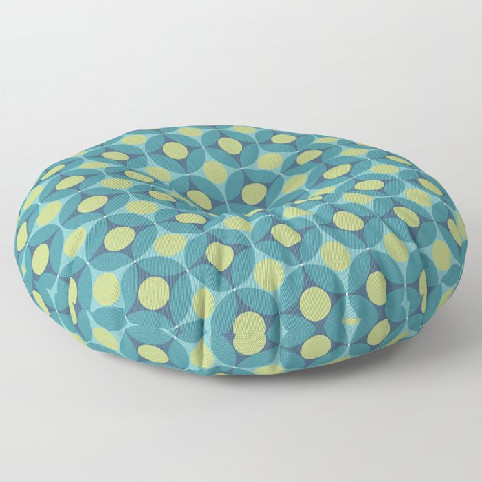 Geometric Circle Pattern Mid Century Modern Retro Blue Green Floor Pillow