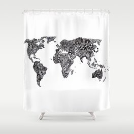 Word Map in a parallel universe Shower Curtain