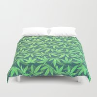 cannabis Duvet Covers featuring  Cannabis / Hemp / 420 / Marijuana  - Pattern by badbugs_art