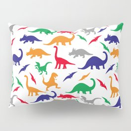 Colorful Dinos in Green, Grey, Red, Blue Yellow Pillow Sham