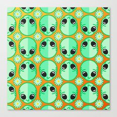 Happy Alien and Daisy Nineties Grunge Pattern Canvas Print