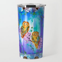 Owl with Bright Colors Travel Mug