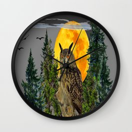 OWL WITH FULL MOON & PINE TREES GREY ART Wall Clock