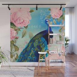 Peacock & Pink Roses  Wall Mural
