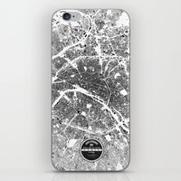 paris map iPhone & iPod Skins featuring PARIS by Maps Factory