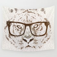 lama Wall Tapestries featuring The Hipster Tiger by Paula Belle Flores