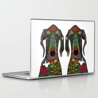 great dane Laptop & iPad Skins featuring Great Dane love white by Sharon Turner