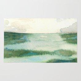 Emerald Sea Watercolor Print Rug