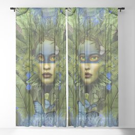 """Tropical green and indigo jungle Woman"" Sheer Curtain"