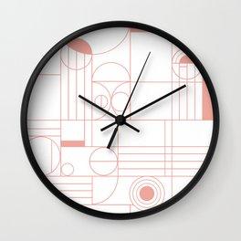 Frank and Albert Modern Geometric Pattern in Desert Pink Wall Clock