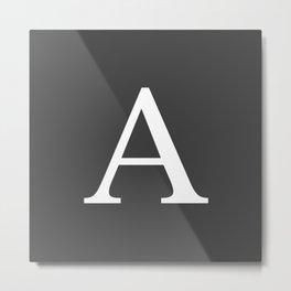 Very Dark Gray Basic Monogram A Metal Print