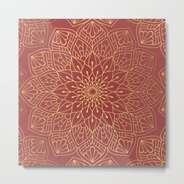 Gold Mandala Pattern On Cherry Red Metal Print
