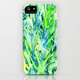 Jungle green watercolor iPhone Case