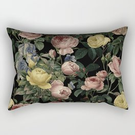 Vintage Roses and Iris Pattern - Dark Dreams Rectangular Pillow