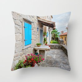 Town of Hum old cobbled street view Throw Pillow