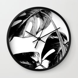 Black monstera leaves watercolor Wall Clock