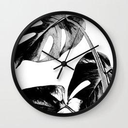 Black monstera leaves watercolor Wall Clock