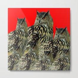 FAMILY OF OWLS IN TREE RED ART DESIGN ART Metal Print