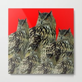 FAMILY OF OWLS IN TREE RED ART DESIGN ART Metal Print