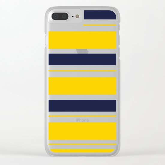Yellow and Blue Horizontal Lines Stripes Clear iPhone Case