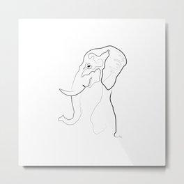 Elephant Line Drawing Metal Print