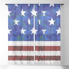 US Flag (Camouflage) Sheer Curtain