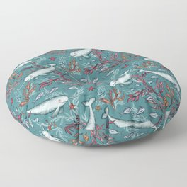 Narwhal Toile - teal blue Floor Pillow