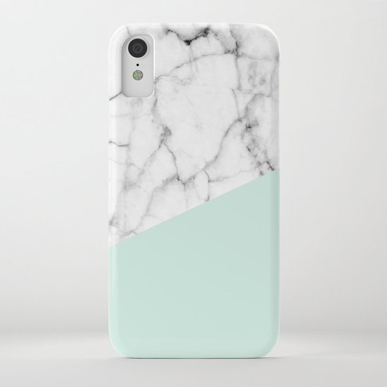 Real White marble Half pastel Mint Green by 5mmpaper