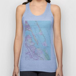 Vintage Map of Port St Lucie Inlet (1948) Unisex Tank Top