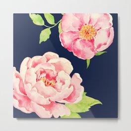 Two Pink Peonies on Navy Metal Print