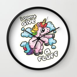 i dont't give a Fluff Unicorn Wall Clock