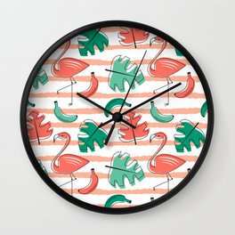 Exotic tropical pattern with bird flamingo, palm leaves and flowers trendy living coral background Wall Clock