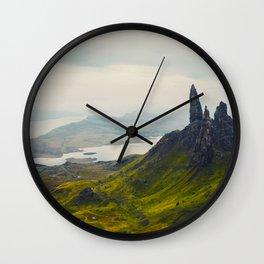 Scandinavian Landscape Green Hills Jagged Mountains And Glacier Lakes Wall Clock