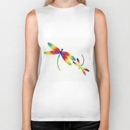 Little Rainbow Dragonflies Biker Tank