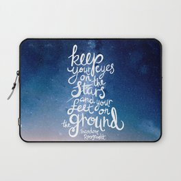Eyes on the stars quote white lettering Laptop Sleeve