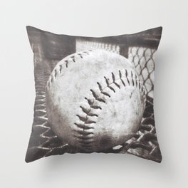 Softball on the Bench in Sepia Throw Pillow