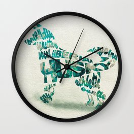 Siberian Husky Dog Typography Art / Colorful Watercolor Painting - Portrait Wall Clock