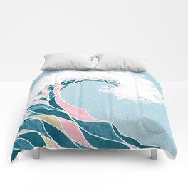 Surf X // Cali Beach Summer Surfing Rip Curl Gold Pink Aqua Abstract Ocean Wave Comforters