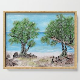 Kefalonia acrylic painting on canvas scanned at 600dpi Serving Tray