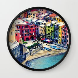 Italy Liguria Cinque Terre Seaside Colorful Houses Wall Clock