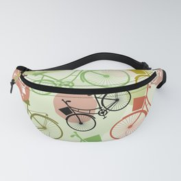 Vintage bicycles, seamless pattern, pastel green brown beige colors Fanny Pack