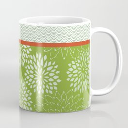 Dahlia Scallops Green and Orange Coffee Mug