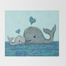 Whale Mom and Baby with Hearts in Gray and Turquoise Throw Blanket