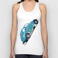 volkswagon Tank Tops featuring Blue VW Bug by Regan's World