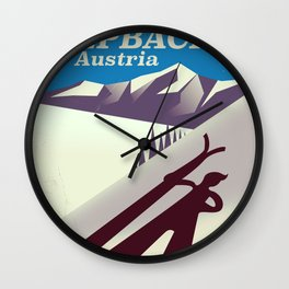 Alpbach Ski Travel poster Wall Clock