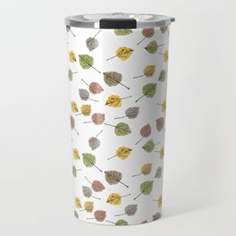 Colorado Aspen Tree Leaves Hand-painted Watercolors in Golden Autumn Shades on Clear Travel Mug