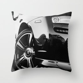 Rolls Rims // Black and White Luxury Super Car Photography Real Life Street Shots Throw Pillow
