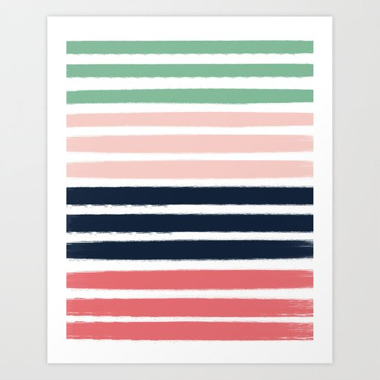 Brooklin - abstract minimal pink coral navy painting home decor abstract charlotte winter art Art Print