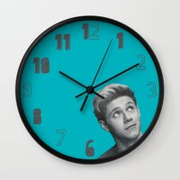 niall horan Wall Clocks featuring Niall Horan Teal by RamseCal