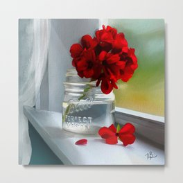 Geraniums in my window Metal Print